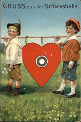 """Greetings from the Shooting Hall"" - Two Boys with Heart Target"
