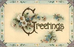 Greetings with Flowers and Floral Border
