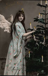Happy Christmas with Angel Girl and Christmas Tree