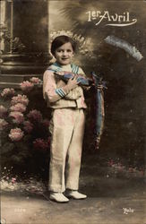 April 1st - Boy in Sailor Suit holding Blue Fish