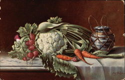 Vegetables on Table with Urn