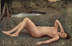 Nude Woman Lying in the Grass by a Pond