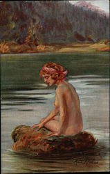 """Mermaid"" - Nude Woman Sitting on Rock in Water"