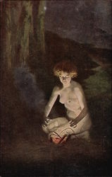 Nude Woman beside small Campfire in the Night