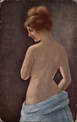 """Study of a Back"" - Semi Nude Woman in Blue Skirting"