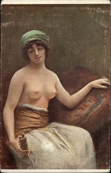 """The Female with the Statuette"" - Topless Woman Seated"
