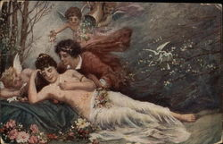 """Dream of Love"" - Nude Woman Reclining with Cherubs"