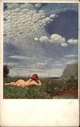 Nude Woman Reclining in Meadow under Blue Sky