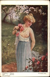 """Spring"" - Partially Nude Woman Carrying Flowers in a Garden"