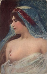 """A Beauty"" - Semi-Nude Woman in Blue Veil"
