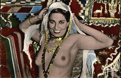 Topless Woman in Gold Jewelry & Head Scarf