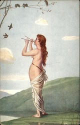"""Spring"" - Partially Nude Woman playing Flutes to Birds"