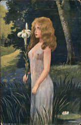 Blonde Woman in Sheer Gown holding Lily
