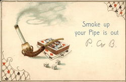 Cigarette in a Pipe with Cards and Dice Postcard