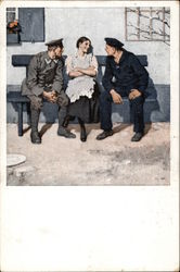 Woman Sitting on Bench with Two Military Men