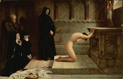 """Renunciation"" - Nude Woman Kneeling at Altar with Nuns & Friars Looking On"