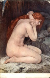 Nude Woman with Long Red Hair Kneeling on Fur Rug