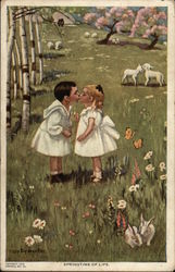 Toddlers Kissing in a Field