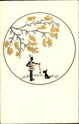 Little Girl with Stringed Instrument & Dog under Branch of Yellow Blooms Silhouettes