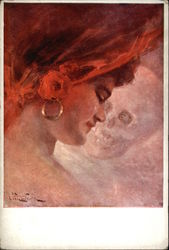 Beautiful woman against the background of a skull Postcard