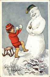Christmas Scene with Boy in Red & Large Snowman