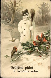 Snowman and Birds on a Branch