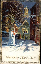 Christmas Scene with Snowman & Bell Ringers