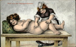 A Maid Giving a Massage to a Large Woman