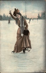 Woman Ice Skating with a Snowball