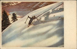 Snow Skier on Downhill Pass