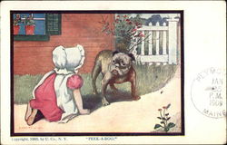 """Peek-A-Boo"" - Child in Sunbonnet Playing with Bulldog"