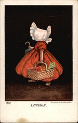 Saturday - Sunbonnet Girl wearing Red
