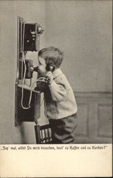 Young Boy Standing in a Chair Talking on the Telephone