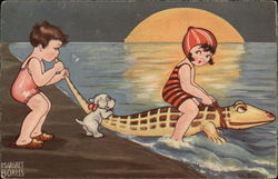 Two little girls,a girl riding on a crocodile in water and a pup