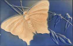Beige Butterfly on Blue Background with Branches