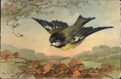Watercolor of Blue and Yellow Bird Flying