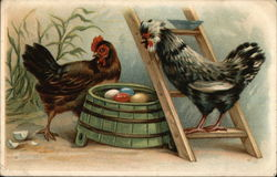 Two Chickens with Colored Eggs on Green Barrel
