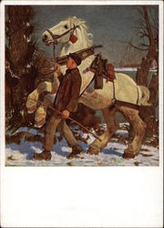 Boy Leading Large White Horse in the Snow