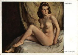 Nude Brunette Woman Sitting on Sheets