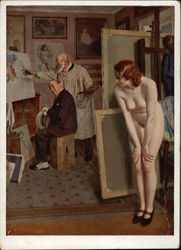 Nude Model Hiding in Artist's Studio