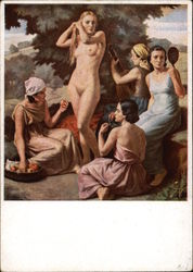 """The Senses"" - Nude Woman standing among Four Maids"