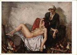 """Being and Perishing"" - Old Woman Seated with Young Nude Woman Reclining"