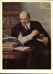Vladimir Lenin Reading While Drinking Tea