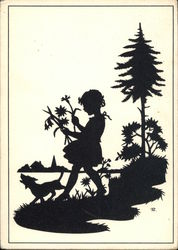Silhouette of Little Girl Holding Flowers Walking in the Woods With Her Dog