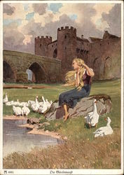 """The Goose Girl"" - Seated on Rock outside of Castle Postcard"