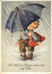 """I Stand in the Rain and Wait for You"" - Child with Umbrella & Red Heart"