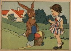 Easter Bunny & Girl with Broken Eggs in a Basket