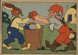 Easter Bunny & Gnome Loading Eggs into Basket