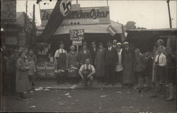 Group of People in Front of Store, Nazi Flag