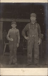 Man & Boy in Overalls - Factory Workers, Railroad?